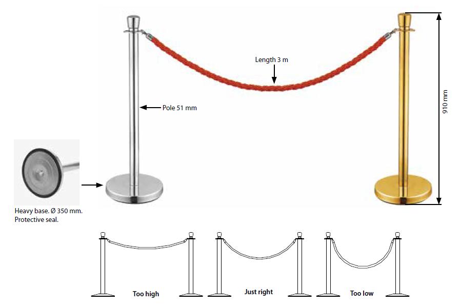 Barreira Q-Rope Basic Em Aço Inoxidável