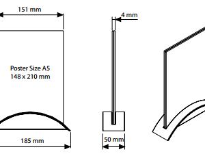 Porta Folheto De Mesa Rocket (Base + Acrílico ) - Retrato - Cinza - A5