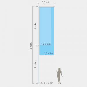 Mastro M1, Altura 8m, Diam. 8cm, 2 partes
